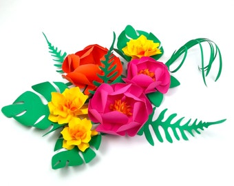 Paper Flower in a Box - DIY - Bridesmaids kit - Mix TROPICAL VIBE  Paper Flowers - set of 6 with leaves