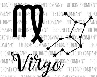 Virgo SVG PNG DXF Zodiac Maiden Instant Digital Download Silhouette Cricut Cut Files Cutting Machine Vector File