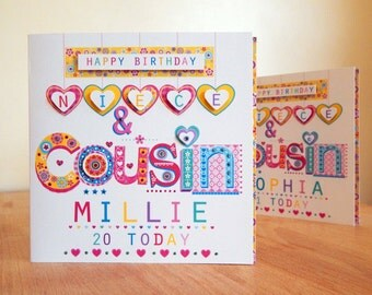 Niece & Cousin card. Personalised birthday card. Special Niece/Cousin birthday card