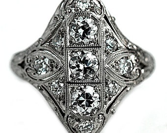 Antique Edwardian Engagement Ring 1.15ctw Platinum Vintage Diamond Ring European Cut Diamond Engagement Ring Antique Diamond Ring 1920's