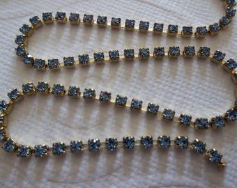 2mm Light Sapphire Blue Rhinestone Chain - Brass Setting - Preciosa Czech Crystals