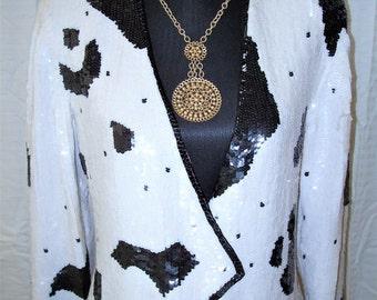 Vintage METAMORPHSIS 100% Silk B&W Sequin Jacket Sz S