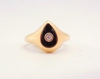 Vintage Diamond Teardrop Onyx Ring