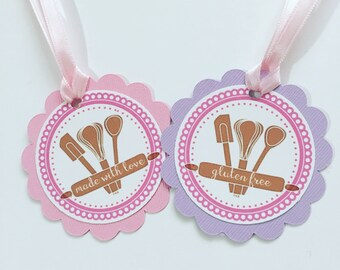 Baked with love tags, gluten free tags, baking gift tags, muffin tags