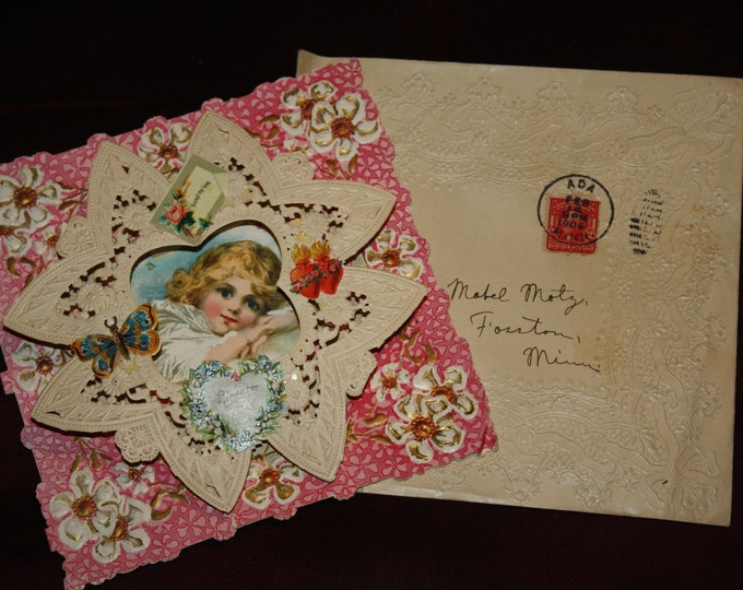 Antique Large, Lacy, & Layered Victorian Valentine Card, Unsigned with Original 1906 Stamped Envelope; Vintage Valentine's Day Unused Card