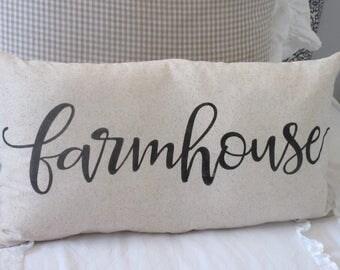 Farmhouse Pillow Cover Script 12x23