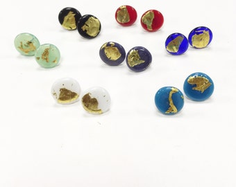 Glass and Gold Stud Earrings, UK SRA, Lampwork