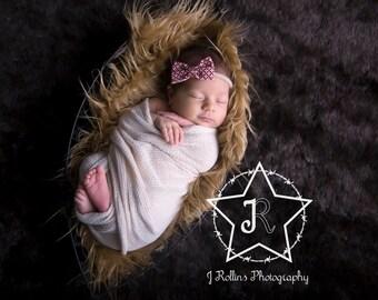 Baby Bow Headband, Baby Headband, Fabric Bow Headband, Newborn Photo Prop, Baby Prop, Headband