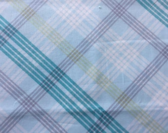Large Multi Colored Plaid Crib Sheet with French Seams