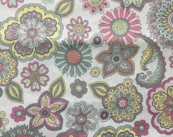 Pastel and Paisley and Flower Crib Sheet with French Seams
