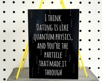 Quantum Physics Dating | Valentines Day Card UK | Science Anniversary Card | Funny Valentines Card | Geek Love Card | Scientific Dating