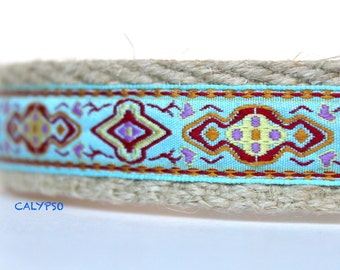 Dog Collar, Jacquard Dog Collar, Adjustable Dog Collar, Blue Dog Collar, Colorful Collar