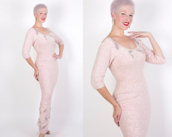 MINT 1950s Rare Iridescent Pale Pink Hand Knit & Sequined / Beaded Curvy Hourglass Evening Gown by Gene Shelly Boutique Internationale - M L