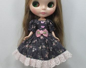 Handcrafted long sleeve dress outfit for Blythe doll 44-12