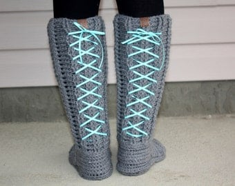 Ribbed Slipper Boots pdf PATTERN (digital download), size small to large, ribbed slippers/booties to crochet, lace-up or add bows