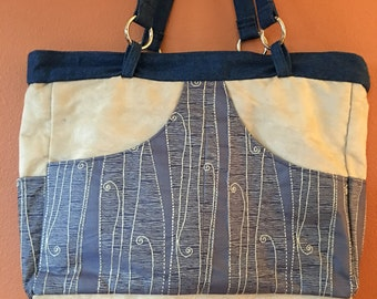 Phoebe #1529, Large Zippered Purse, Knitting Bag, Knitting Tote, Travel Bag, Diaper Bag, Project Tote, Large Tote, Knitting Project Bag,