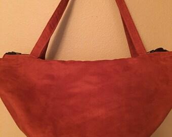 Wedge #1504, Rust Ultra Suede Purse, Rust Large Purse, Large Purse, Wedge Purse, Bags, Large Bag, Handbag, Handbags, Shoulder Bag, Pruses
