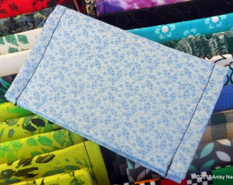 Blue print ID wallet business card holder reuse vegan cotton light blue with tiny leaf design fabric
