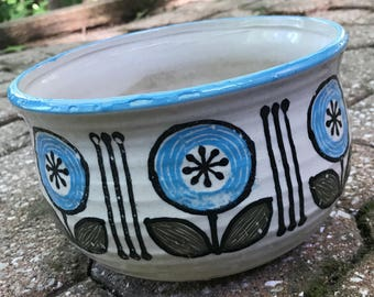 Fun Vintage 60s Ceramic Flower Planter Retro Pottery Mid Century Modern Japan Sixties Hand Painted
