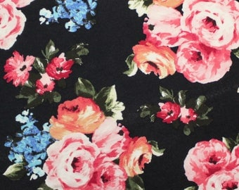 Black Peach Pink Blue and Green Floral Rayon Spandex Jersey Knit Fabric, 1 Yard