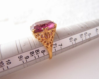Art Deco Gold Filigree Amethyst Glass Ring by Uncas Mfg 14kt 14k GE size 7.5