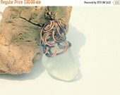 ON SALE FREE Shipping Sea Glass Necklace - Copper Necklace -  Lake Erie Beach Glass - Copper Jewelry