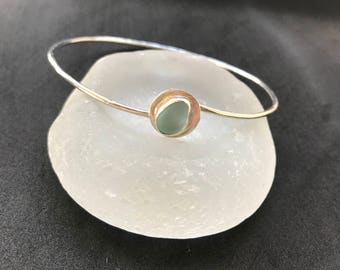 Sea Glass Bangle, Sea Glass Bracelet, Sea Glass Jewelry, Lake Erie Beach Glass, Sterling Bracelet, Sterling Size 7 Bangle