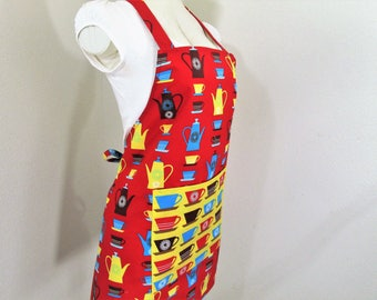 Retro Bib Apron - A Fun Red Apron with Retro Perculators and Cups with A Vibrant yellow Retro Cups Pocket, great for cooking and creating in
