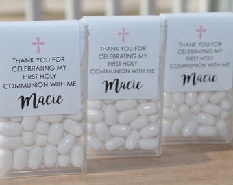 1st Holy Communion Party Favors, Tic Tac Labels Mint Favors, Mint Favors, Girls Holy Communion, Personalized Party Favors - Set of 24 Labels