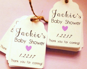 Custom Name Baby Thank You tag with date choice, custom tags, gift tags, favor tags, thank you tags, party favors, bridal shower, baby