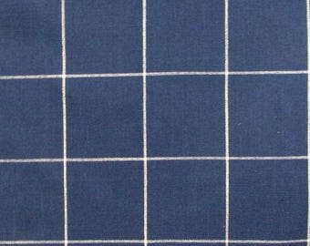 Window Pane Blue and White designer upholstery fabric