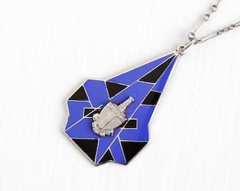 Vintage Sterling Silver Blue & Black Enamel Alpha Tau Omega Pendant Necklace - Art Deco 1920s ATO Virginia Fraternity Fraternal Fob Jewelry