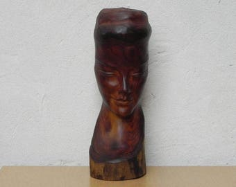 Carved Wood Female Bust Sculpture with Live Edge, Artisan Made, 1962