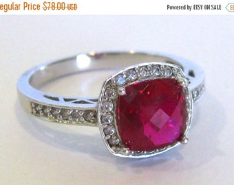 SPRING SALE Vintage Ring Sterling Silver Faceted Ruby & Faux Diamond Jeweled Cocktail Ring size 9