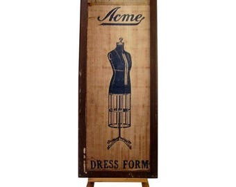 Acme Dress Form Mannequin Box Advertising Vintage Antique Box Steampunk Retail Store Flea market Antique Shop