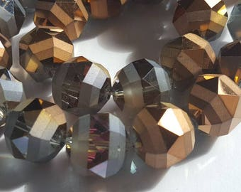 Bronze -gray-clear faceted round Crystals-Full 12 inches Strand-15 mm. Active