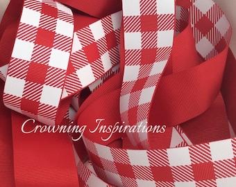 1.5 Plaid Red and White US Designer Ribbon