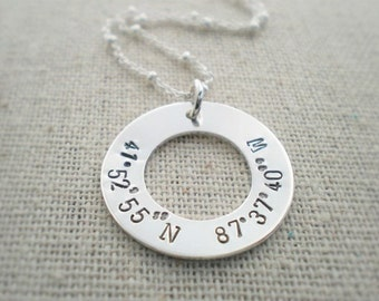 latitude longitude coordinates washer necklace | location necklace | gps round tag | birthplace stamped on pendant | engraved necklace