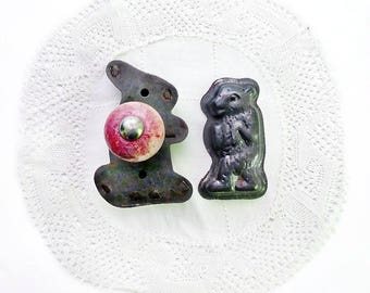 Two Small Tin Animal Cutters, A & J Rabbit