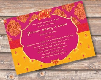 Morocco Pink and Gold Stock the Library Enclosures Moroccan Paisley Fuchsia Bring a Book Cards Baby Girl Shower Indian INSTANT DOWNLOAD