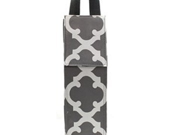 Personalized Grey and White Geometric Wine Bottle Tote Bag Great for Parties gift  or giving it someone special