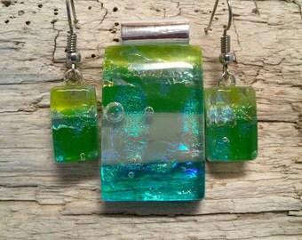 Dichroic glass, jewelry set, glass, handmade, dichroic glass jewelry, dichroic glass, fused glass, handmade fused glass, glass jewelry