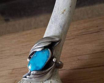 Beautiful handmade turquoise and sterling silver southwestwrn style statement ring