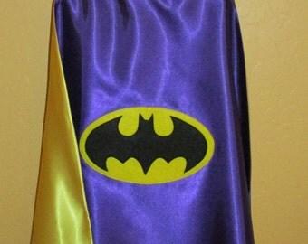DC Comic Inspired Batgirl Cape / Super Hero Cape / Batgirl Cape / Reversible Cape / Personalized Capes / Custom Capes / Children Cape