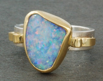 ON SALE!!! Brilliant Opal Doublet | 18 Karat | Sterling silver | Unique | Gift for Her | Stacking