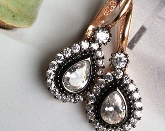 FREE SHIPPING Giselle  EARRING rose gold antique mid century diamond vintage inspired sterling
