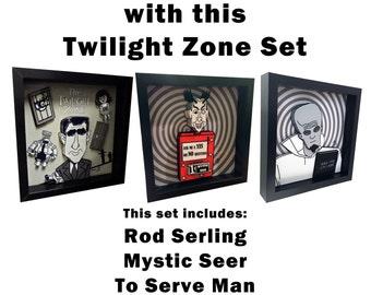 Twilight Zone Episodes Art Set of 3 Rod Serling Mystic Seer To Serve Man Kanamit Poster Art Sci Fi 3D Art Pop Artwork 1950s Television