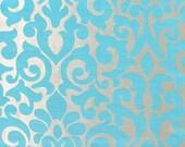 Custom Roman Shade in Silver / Blue Damask Pattern Fabric