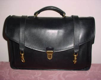 Sale  Vintage Coach  black leather Morgan Briefcase   made in USA .