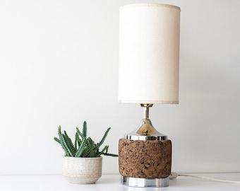 Vintage Mid Century Modern Cork Lamp